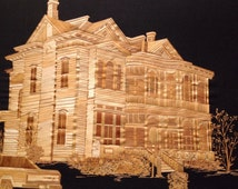 Victorian home Galveston, Texas. Handmade with rice straw, dried leaves of rice plant. Very UNIQUE leaf art