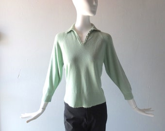 Vintage Cashmere Sweater - Pearl Button Polo Pringle Style - Mint Green Fully Fashioned Shoulder - size sm to medium 4 6 8