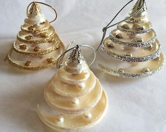 "BEACH DECOR CHRISTMAS Ornament, pearlized seashell ornament in gold, silver or pearl, coastal bling, nautical ornament, shell ornament, 2.5"""