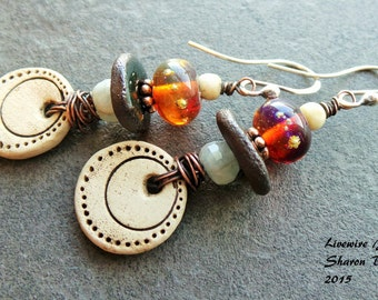 Ceramic and Glass Earrings, Tribal Earthy Glass Earrings, Amber Glass and Circle Earrings