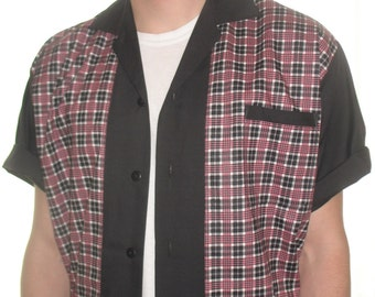 Men's Rockabilly Shirt Jac Pink & Black Vintage Plaid