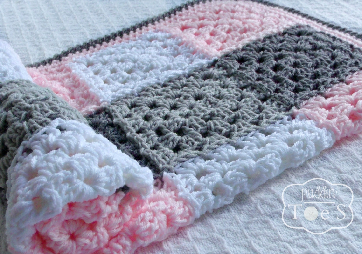 Gray And Pink Baby Blanket Granny Square By