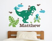 Dinosaur Name Decal Boy T-Rex Personalized Name Wall Decal Baby Nursery Room Decor Dino Room Theme Art Decorations (LARGE SIZE)