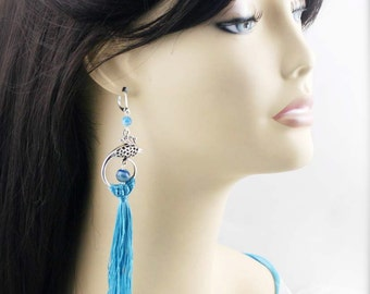 Phoenix tassel earrings (TJ) - botswana agate
