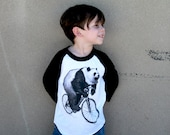 Panda on a Bike - Unisex Kids American Apparel Raglan Baseball Tee Shirt