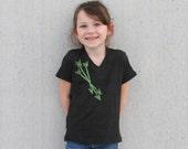 Size 2 - Kids Clearance - Mint Three Little Arrows Tee - Tri Blend American Apparel Kids V-neck Tee in Tri Black