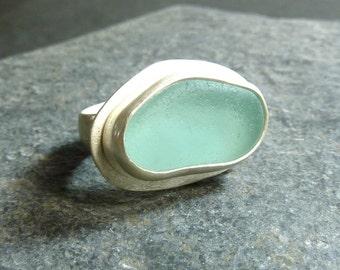 Swimming Pool Aqua Seaglass ring- Ready to Ship