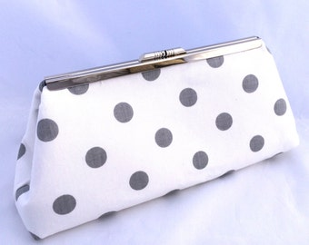 ON Sale  Ready to Ship Gray and White Polka Dot Handbag Clutch- Ready to Ship