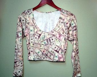 Money Print Shirt Long Sleeved Womens Crop Top