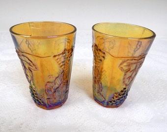 Carnival Glass Juice Glasses ( 2) Harvest Gold  19 70s