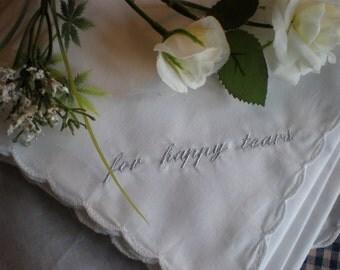 For Happy Tears Hanky-SALE-One Hanky Weddings.Men Women Bridal Party