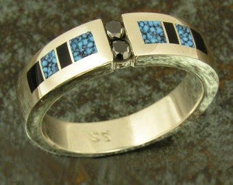 Spiderweb Turquoise and Black Diamond Ring by Hileman Silver Jewelry