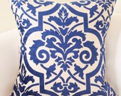 Indigo Blue Pillow Cover Decorative Throw Pillow Damask Pillow Cushion Accent Toss Pillow