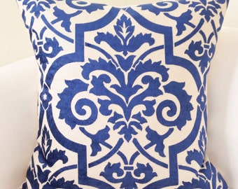 Indigo Blue Pillow Cover Decorative Throw Pillow Damask Pillow Cushion Accent Toss Pillow