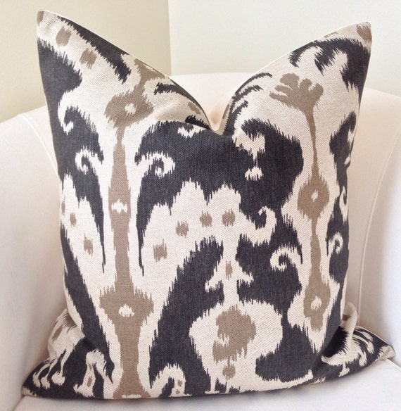 Ikat Pillow Cover Black Pillow Cushion Throw Pillow  Black Beige Decorative Pillow