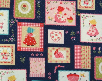2519C - Sweet Sunbonnet Sue Patchwork Fabric in Dark Blue, Lovely Girl Fabric, Patchwork, Tiny Dots, Apple, Flower, RIbbon, Heart