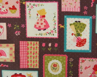 2519A - Sweet Sunbonnet Sue Patchwork Fabric in Brown, Lovely Girl Fabric, Patchwork, Tiny Dots, Apple, Flower, RIbbon, Heart