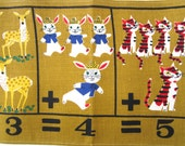 Back to School Vintage Children's Wall Hanging Table Runner Animals People Math Numbers