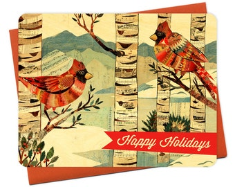 Cardinals Wood Holiday Card - A Collaboration with Mixed Media Artist Dolan Geiman - Real Wood Christmas Card - Happy Holidays - WC2203