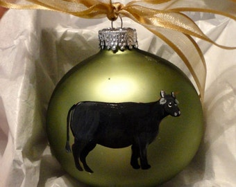 Angus Cow Hand Painted Christmas Ornament - Can Be Personalized with Name