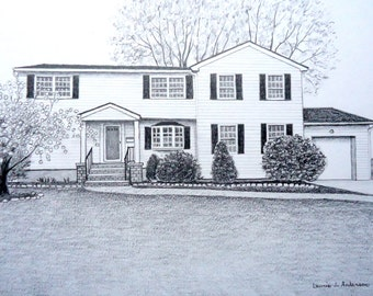 Portrait Sketch Drawing in pencil of  your House, home, cottage, cabin or condo  - original art 11 x 14  including mat - created from photo