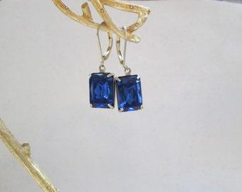 Vintage Estate Style Dark Sapphire Cobalt Blue Glass Earrings