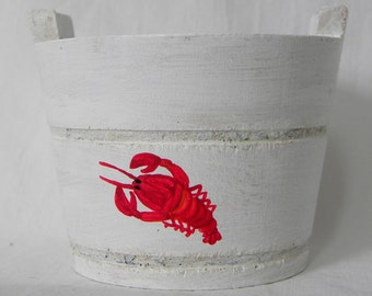 Wedding Favor Lobster Buoy wooden Maine bucket nautical weathered shabby chic coastal decor