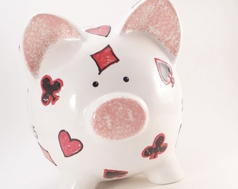 Poker Piggy Bank - Personalized Piggy Bank - Texas Hold 'Em Bank - Playing Cards Piggy Bank - Vegas Bank - with hole or NO HOLE in bottom