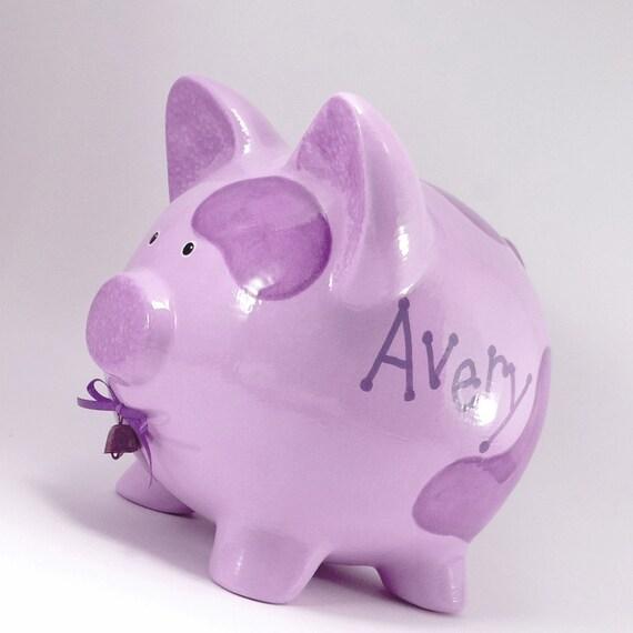 Purple Cow Piggy Bank - Personalized Piggy Bank - Ceramic Cow Bank - Moolah Bank - Cash Cow Bank - Farm Theme Bank - with hole or NO hole