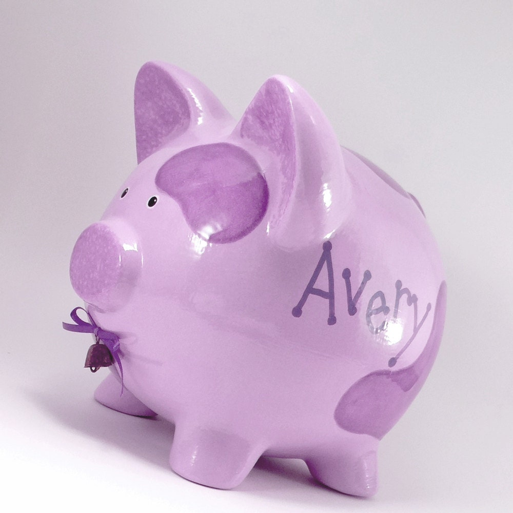 Purple Cow Piggy Bank Personalized Piggy Bank Ceramic Cow