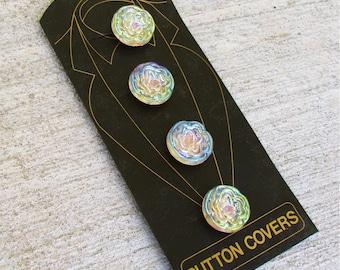 4 unique iridescent vintage button covers - 1 inch each
