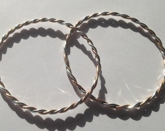 2 Twisted Sterling & Bronze Bangles