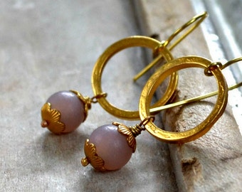 golden earrings, gold plated rings, glass bead earrings, gold and lavender- Vienna