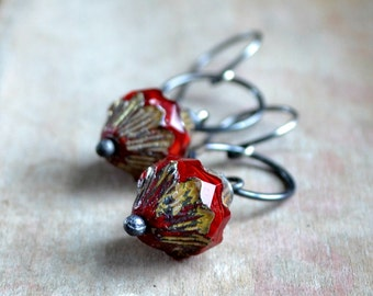 Sterling silver earrings, holiday gift for her, glass bead earrings, rustic earrings, spicy red, boho earrings - Suzy