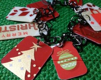 upcycled Christmas Starbucks charm bracelet