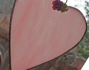 Stained Glass,Heart, Sun catcher,Soft Pink Wispy Glass with rose accent.