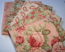 Roses n Chocolate by Sentimental Studios for Moda pink Fat quarter set