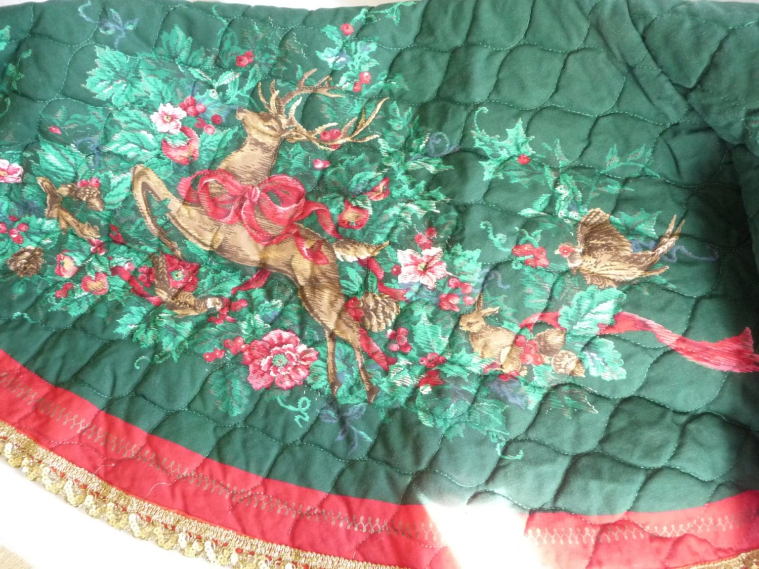 Vintage Christmas Tree Skirt Quilted Tree Skirt Reindeer