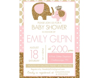 Personalized Pink and Gold Glitter Elephants Baby Shower Invitations and Envelopes One Dozen Printed NV031