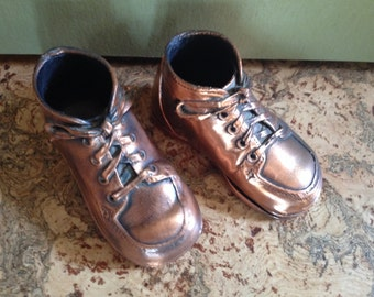Vintage late 1970's bronzed baby shoes