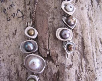 Vertebrae Pendant, Earthy Modern Sterling Silver Pendant, Fresh Water Pearl Pendant, Metalwork Sterling Silver Necklace, Science Jewelry.