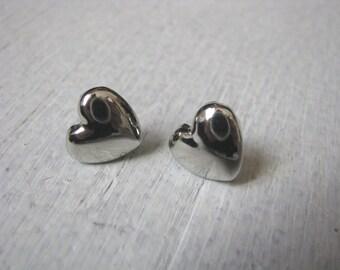 Silver tone vintage heart earrings with post backs