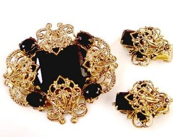 Ornate Black Faceted Glass Pin Set-- West Germany
