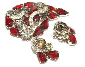 Rhinestone Jewelry Set, KRAMER Brooch Earrings, Gifts Paisley Ruby Red Ombre Smokey Gray Crescent Moon Signed Designer Costume Jewelry