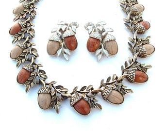 Rustic Vintage Acorn Necklace Earring Antique Gold Tone Jewelry Set Woodland Nature Nut