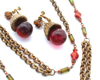 Miriam Haskell Necklace, Long Chain Adobe Twist and Peridot Glass Beads, Estate Designer Jewelry