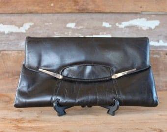 1980s black clutch | leather oversized envelope purse