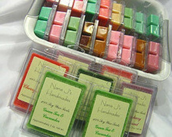 Soy wax melt-soy melts-triple scented-clamshell.  Lemongass Sage.  Made by Nana J's Handmades