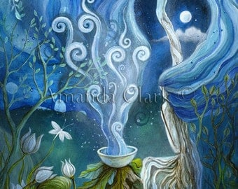 Special edition art print embellished with silver leaf.'Shaman Light' by  Amanda Clark.