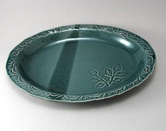 Oval Serving Platter-Leaves-Slab Built-Textured Leaf Pattern-Tableware-Rich Glossy Peacock Blue Green Glaze